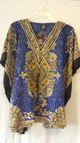 Women/' Clothing Poncho Dashiki Top Blouse Tunic Cover up Boho Free Size Blue