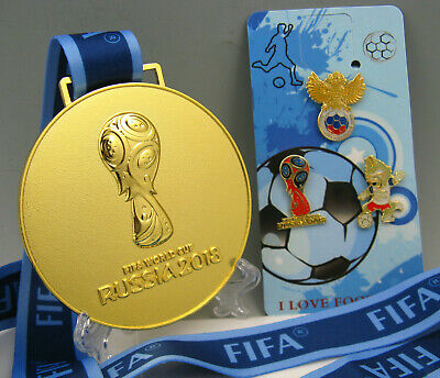 NEW 2018 Russia FIFA World cup Gold Medal with Commemorative Ribbon Collection
