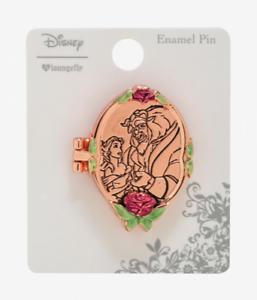 Disney Beauty And The Beast Locket Enamel Pin Box Lunch Rose Gold Folding Belle