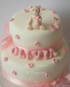 Grey Teddy Bear Cake Topper