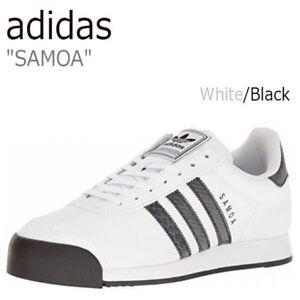 NEW MENS ADIDAS SAMOA WHITE BLACK ONIX LEATHER SHOES BB8580 SNAKESKIN DETAILS