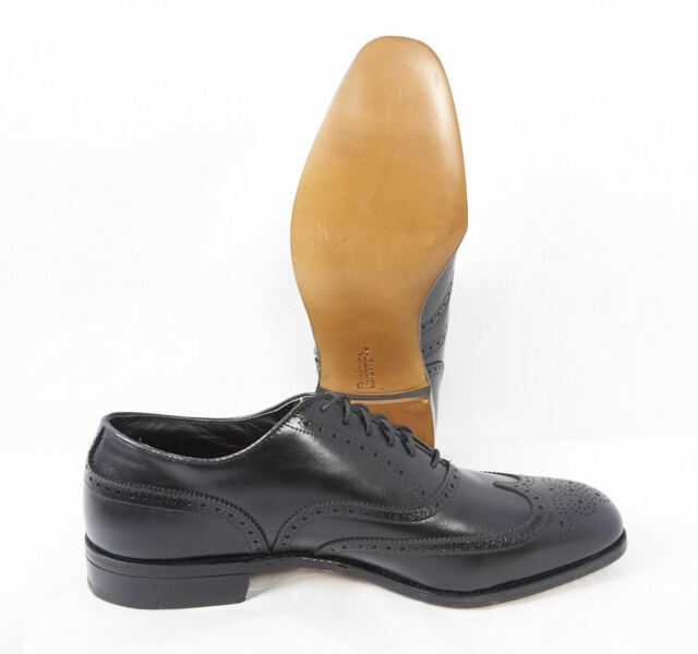 FOOTJOY Vintage 70s Black Leather Wingtip Oxford Spikeless Golf Shoes Men 10.5 C