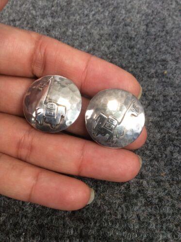 Vtg  Peru G.Laffi  sterling Silver 925 clip on ea… - image 1