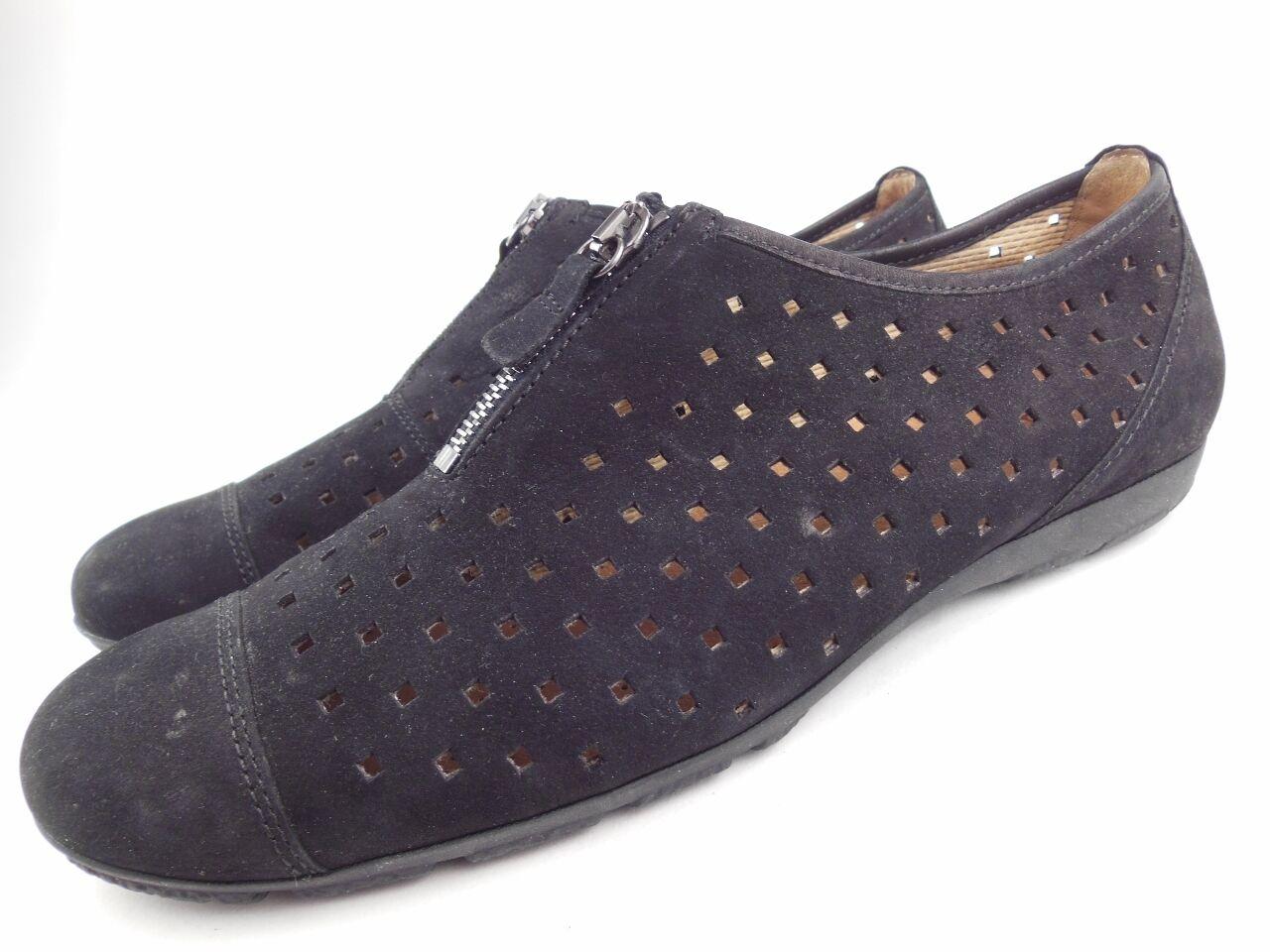 GABOR Hovercraft Black Perforated Nubuck Leather Zip Up Flats shoes Size 9