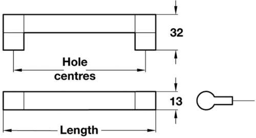 Keyhole Bar Handle For Kitchen//Bedroom//Cabinet//Door//Cupboard//Drawer Handle