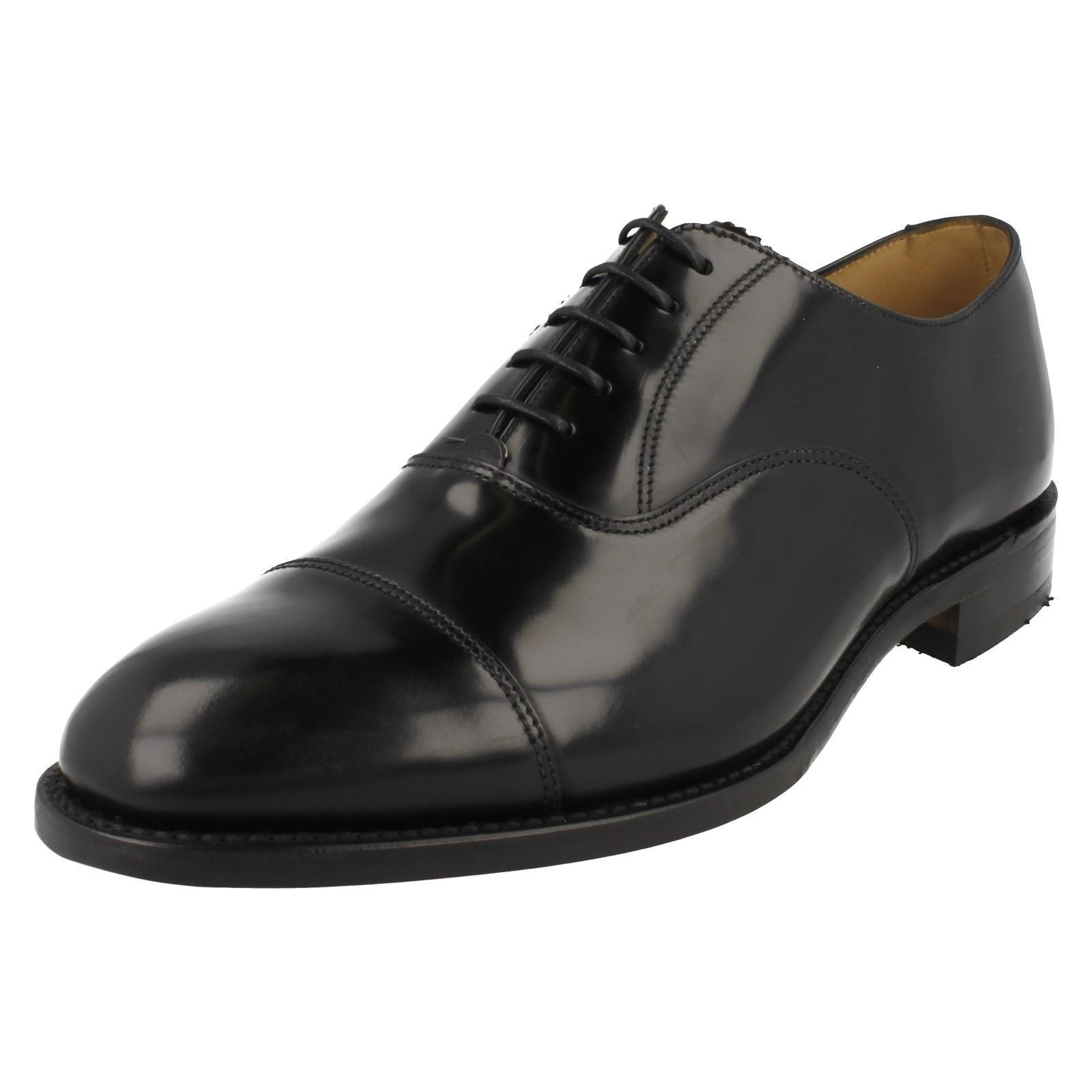 MENS SMART LOAKE BLACK POLISHED LEATHER LACE UP F FIT SMART MENS FORMAL WORK SHOES 747B 27154e