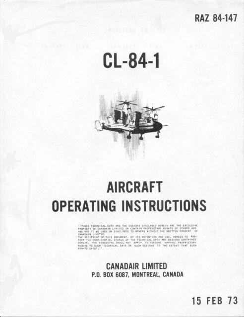 Canadair CL-84 CX 84 131 Manual VTOL Dynavert Experimental RARE 1970's archive