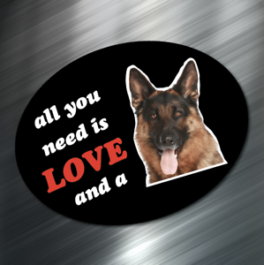 "(1) All you need is love & German Shepard Dog Sticker Window Decal AKC 3""x4"" NEW"