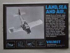 6/1981 PUB VALMET OY DEFENSE FINLAND LAND SEA AIR TRAINER AIRCRAFT ORIGINAL AD
