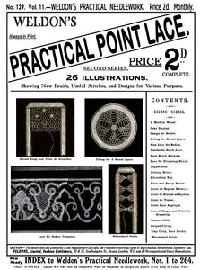 Weldon's 2D #129 c.1895 Victorian Era Point Lace Instruction Patterns (2nd Book)