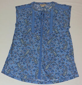 e6289cc6f7f5 NWT Lucky Brand Sleeveless Blue Paisley Print V-Neck Loose Fit Top ...