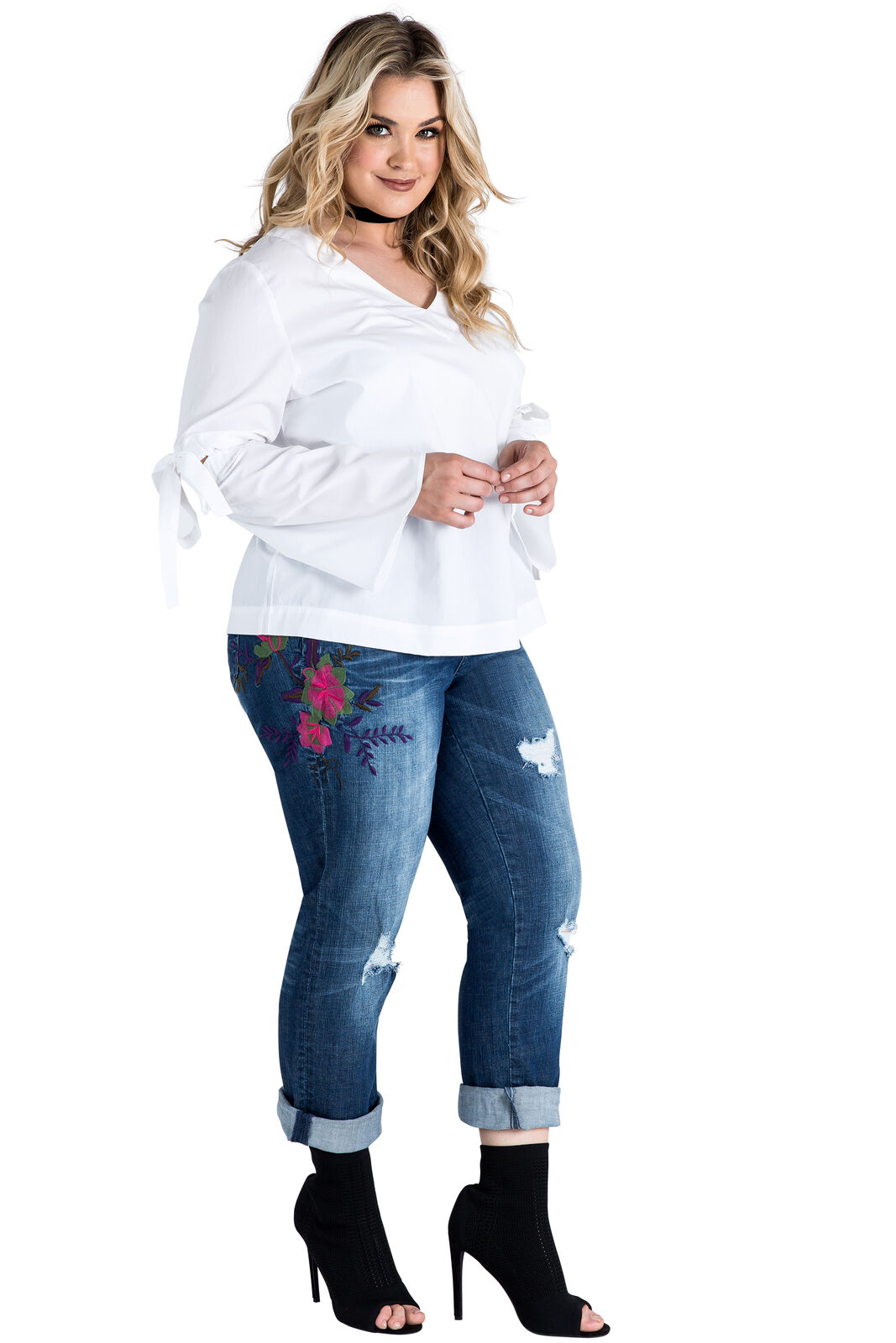 Standards & Practices Plus Size Women's Embroidered Distressed Boyfriend Jeans
