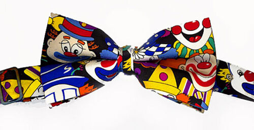 SHRINER CLOWN BOW TIE NEW CLOWN FACES on BLACK POLY FABRIC ADJUSTABLE BAND