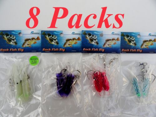 """5 Packs 3/"""" Rock Cod Rigs Two Bulb Squid Rigged Rockfish bait 5 Colors"""