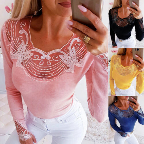 Women Lace Floral Print T-Shirts Ladies Long Sleeve Slim Fit Stretch Tops Blouse
