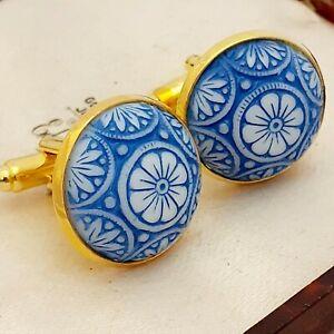 Vintage-Preciosa-Blue-White-Mosaic-Glass-Large-Round-Goldtone-Cufflinks