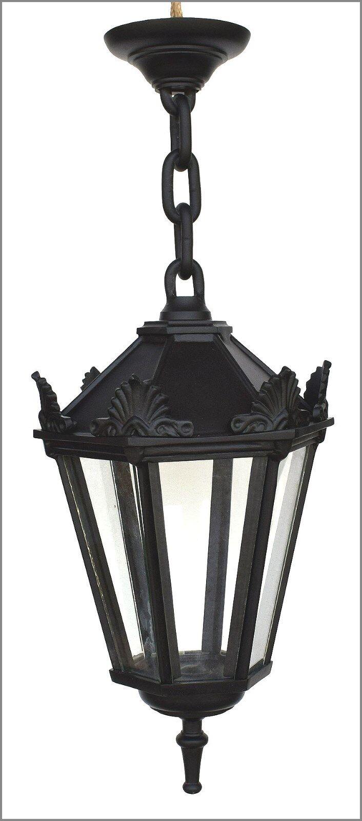 Antik Style Alte Form Aluminium Garten Hängelampe Lampe Laterne Schwarz