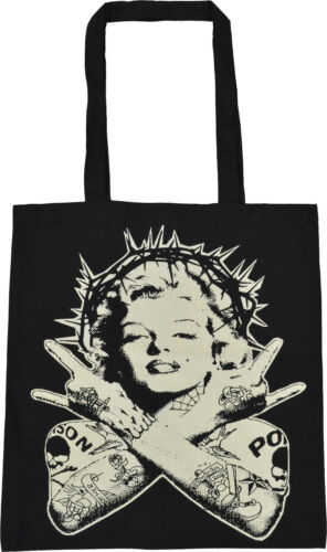 MARILYN MONROE BLACK TOTE  BAG TATTOO PUNK PIN UP 50/'S ICON CROWN OF THORNS