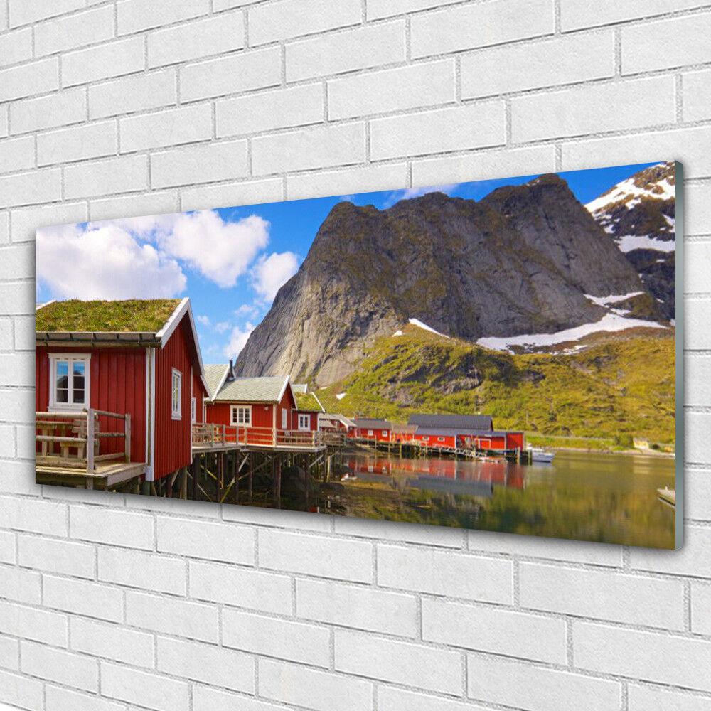 Impression sur verre Image tableaux 125x50 Paysage Maisons Lac Montagne