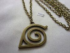 Bronce Estilo Naruto Hoja Aldea Colgante Charm,Largo 76.2cm Collar De Cadena
