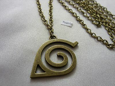 """A Bronze Style Naruto Leaf Village Charm Pendant, Long ( 30"""" ) Chain Necklace"""