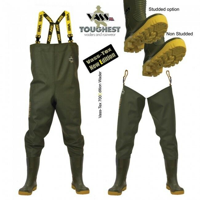 VASS 700 HEAVY  DUTY  CHEST & THIGH WADERS NON STUDDED   STUDDED & MEGA STUDDED  no.1 online