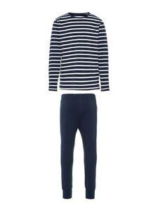 NAME-IT-Jungen-Pyjama-Schlafanzug-dunkelblau-weiss-gestreift-Groesse-86-bis-164