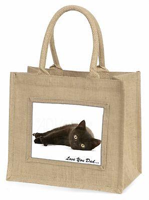 schwarze Katze' liebe Dich Papa 'Große natürliche jute-einkaufstasche Christmas