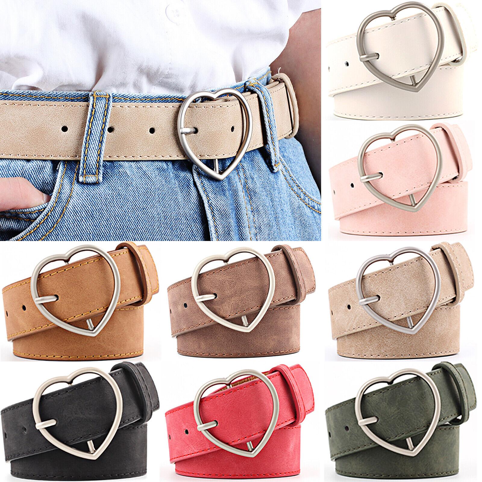 Womens Love Heart Buckle Belt Dress Jeans Waistband Durable Waist Pants Strap