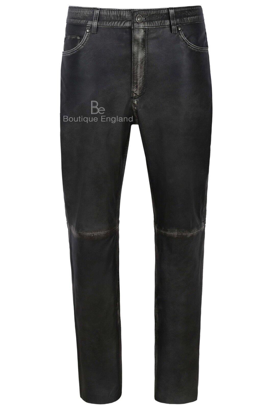 Uomo Leather Pantaloni Moto Pelle Di Agnello Nero Vintage in pelle Jean Stile 501