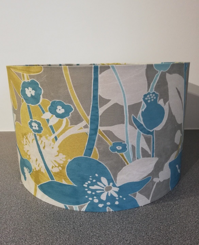 Handmade Lampshade Teal Mustard Floral Flowers Bold Ceiling Floor Light Shade