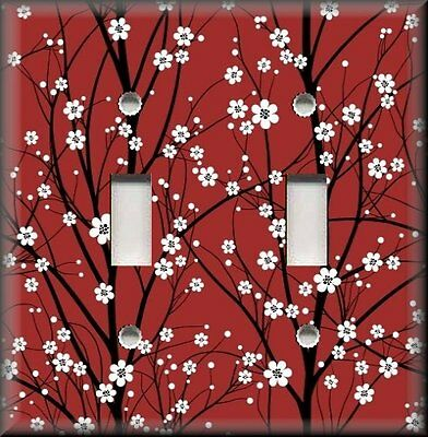 Floral Decor - Metal Light Switch Plate Cover - Cherry Blossoms On Red - Flowers