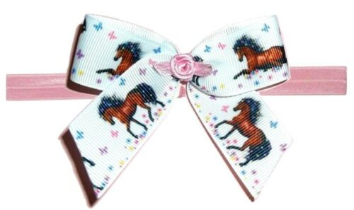 HORSES Baby Stretch Elastic Headband Foe Hair Bow Clip Ribbon Horse Butterfly