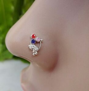 Indian-Nose-Ring-Nose-Piercing-Brass-Stud-Silver-Nose-Pin-Silver-Nose-Jewelry-CZ