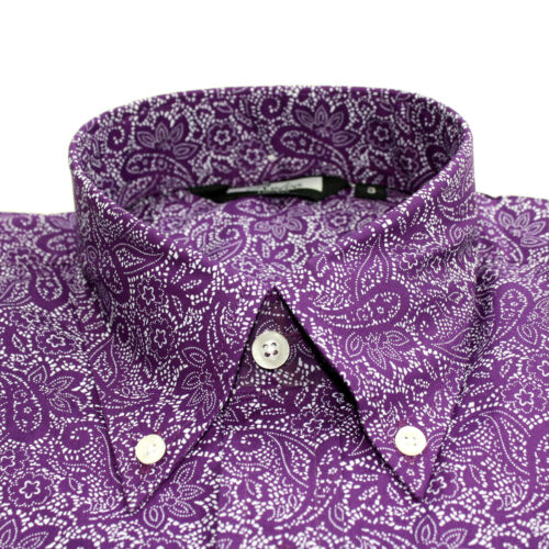 Relco Hommes Blanc Violet Cachemire Chemise Manches Longues