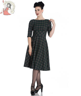 HELL BUNNY PEBBLES 50s style hogmony GREEN TARTAN check DRESS