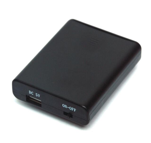 1pc Plastic Battery Holder Cassette AA R6P UM-3 1.5Vx4 USB On/Off Backup Bank
