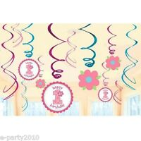 1st Birthday Girl Swirl Decorations (12) Sweet Little Cupcake Party Supplies