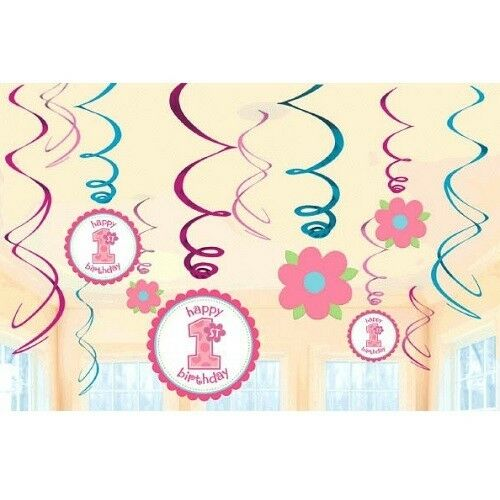 ~ Sweet Little Cupcake Party Supplies 1st BIRTHDAY GIRL SWIRL DECORATIONS 12