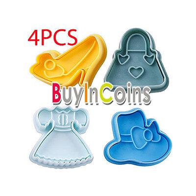 4Pcs Cake Shoe Dress Bag Decor Hat Sugar Paste Sugarcraft Plunger Fondant Cutter