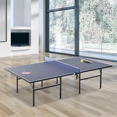 HOMCOM Mesa de Ping Pong Plegable con Red 152.5x274x76cm Acero y MDF Color Azul