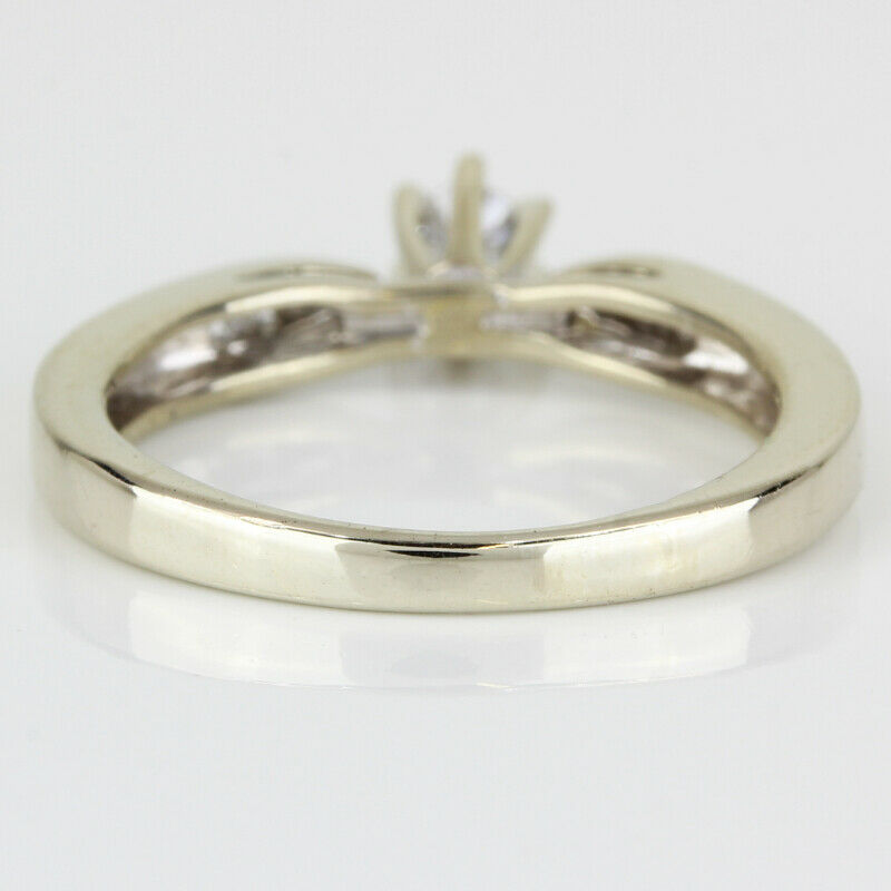 14k Gold Diamond Solitaire Ring w/ Accents - image 5