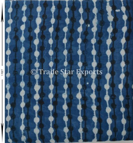 Indigo Hand Block Print Running Fabric by the Yard 100/% Natural Cotton Fabric