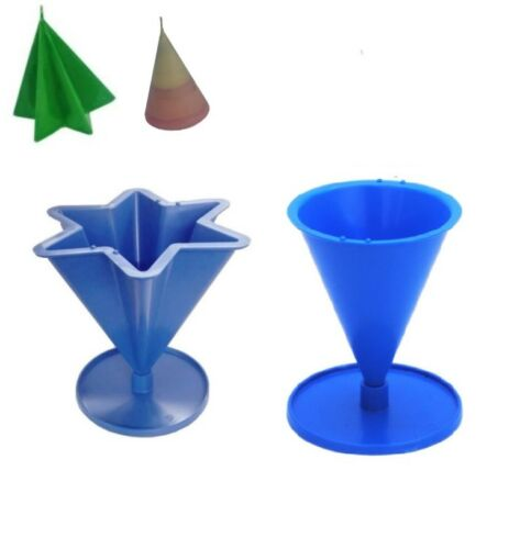 Set x 2 S7682 6 Pointed Tapered Star Shape /& Cone Shaped Candle Moulds Molds
