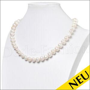 NEU-Halskette-10-11-mm-PERLEN-Collier-Echte-Suesswasser-Perlenkette-46-cm