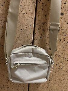 NWOT TOMMY HILFIGER Cream Nylon Zipper Crossbody  Bag Purse Medium  $88