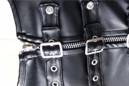 Black Corset Top Steampunk Leather Bustier Overbust Waist Training Plus Size MEM