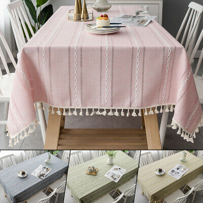 New Cotton Linen Plaid Tablecloth With Tassel Rectangle Table Cloth Dust Cover Ebay