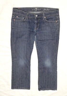 7 For All Mankind Lady's Jeans Dritti Vita Bassa Lavato Ritagliata Denim Scuro 30-mostra Il Titolo Originale