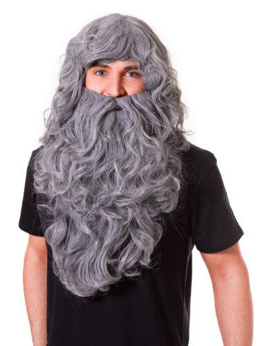 #White #Wizard Parrucca mago Il signore degli anelli Lunga Barba Parrucca Mago Merlino GRIGIA